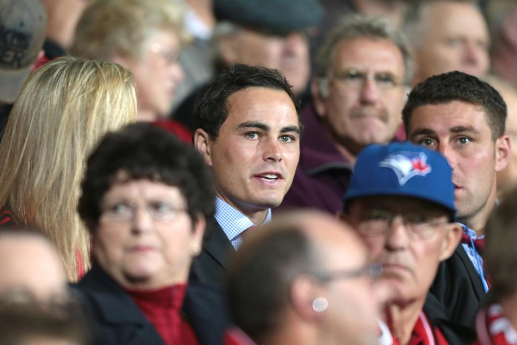 Zac Guildford watches from the stands as the Crusaders beat the Bulls.