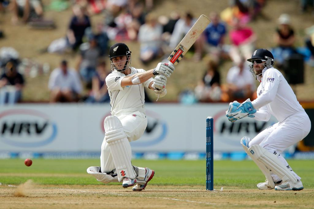 Kane Williamson on his way to a half century on day four of the second test.