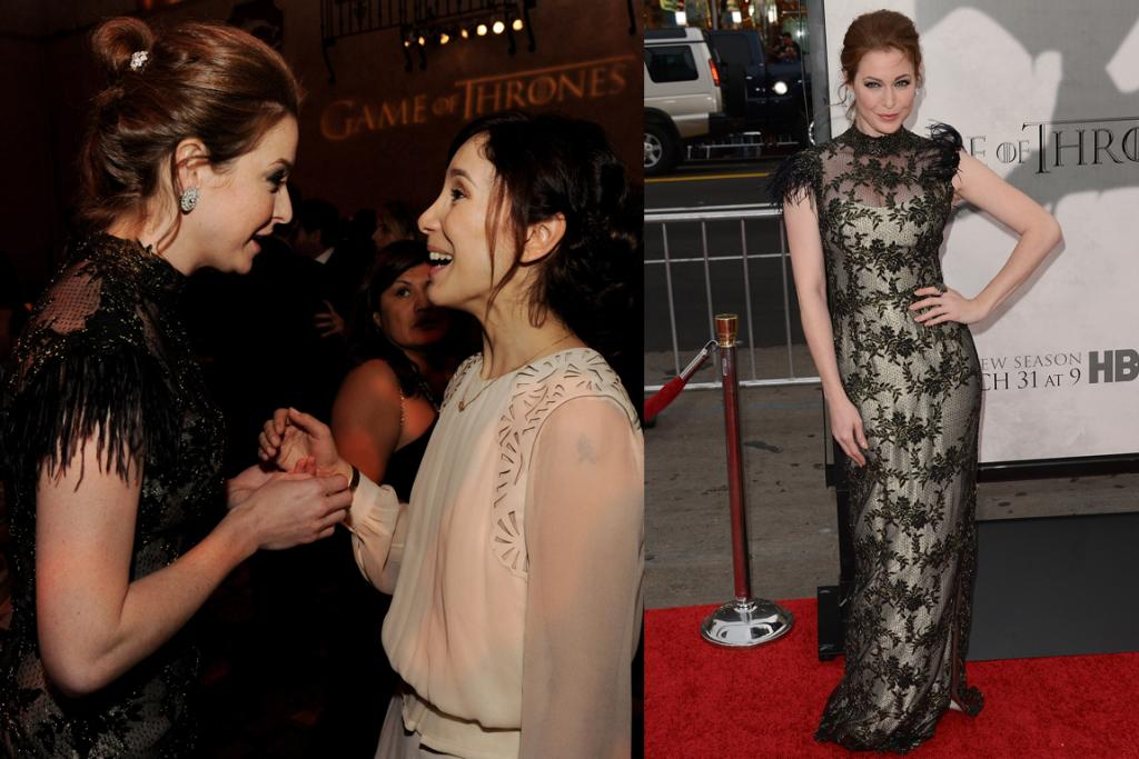 The Subtly Sultry - Esme Bianco, who plays prostitute Ros in the show, wears a mesh with lace overlay dress - she works it.