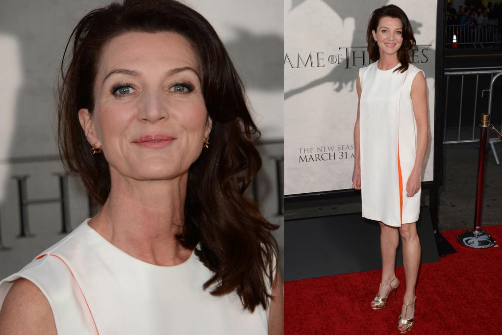 The Bad - Michelle Fairley, 49, wears a bright white dress with dashes of orange - we'd have gone for different shoes, and aren't keen on the shape on her, but we won't go on, as we don't want to mess with Catelyn Stark.