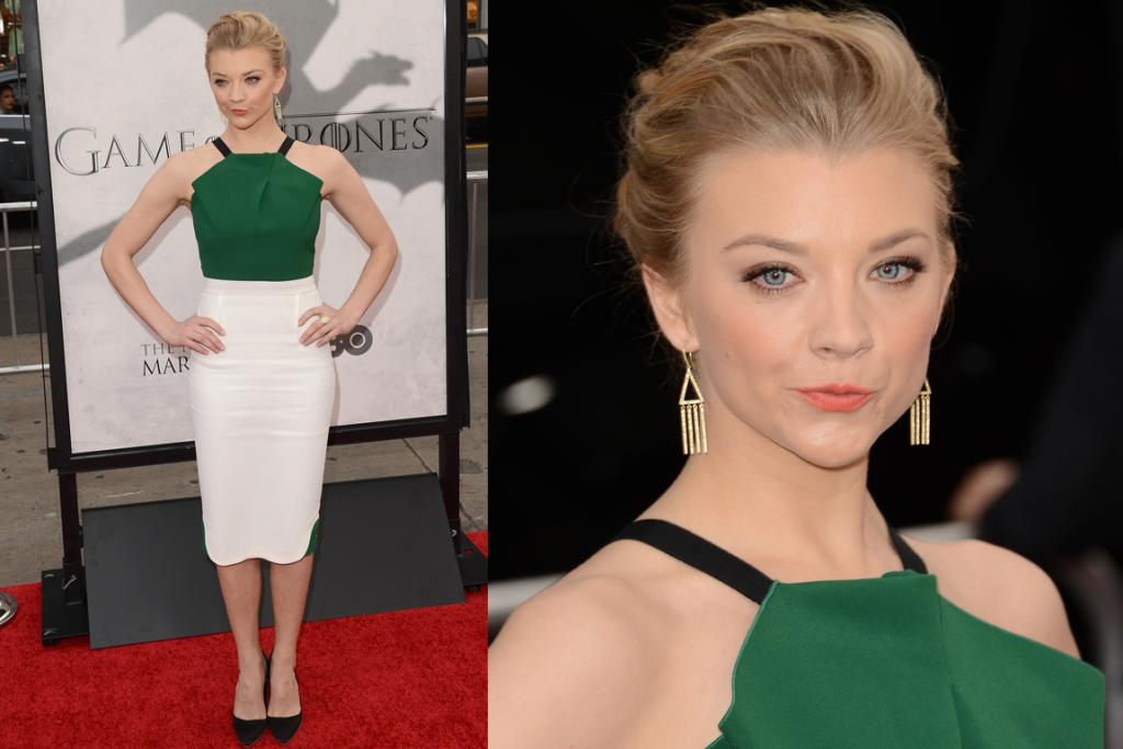 The Good - Natalie Dormer - who has a seriously strange photo face - wears a green and white Roland Mouret dress, which has been adored and worn by many this season, including Samantha Barks and Karolina Kurkova (it's hard to top a supe'). She plays Margaery Tyrell in the show.