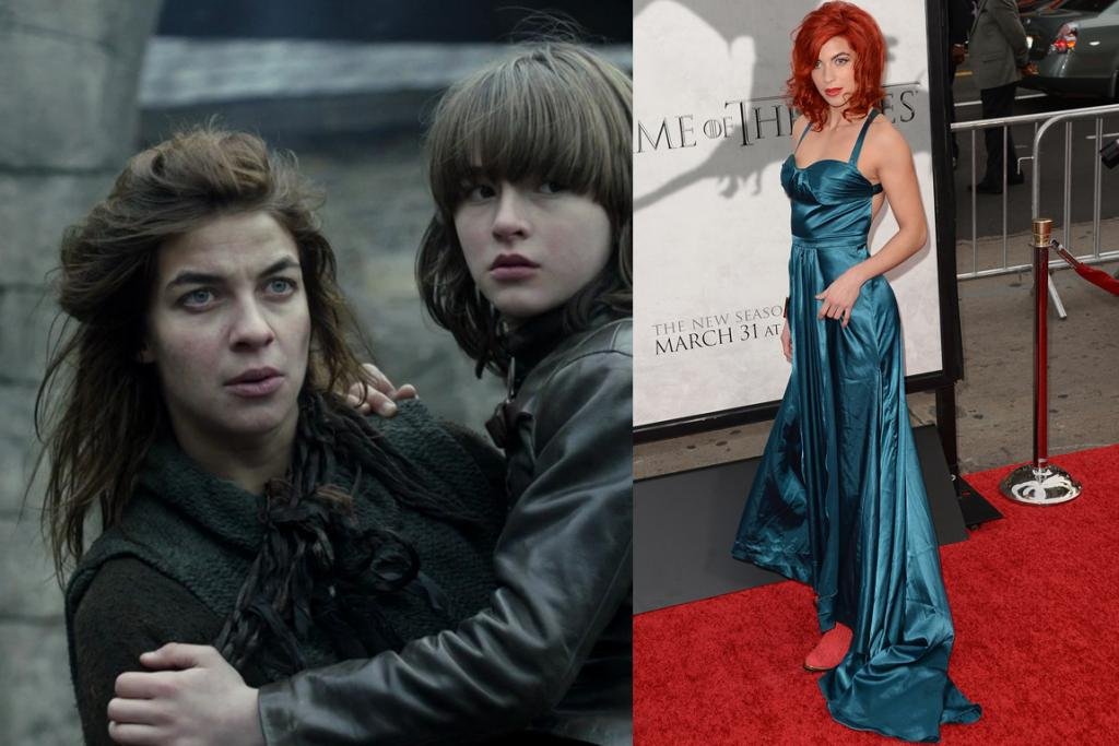 The Wild Card - A blue satin evening dress with bright orange hair and red boots, a look only Spaniard-Brit Natalia Tena, who both plays the accordion in the band Molotov Jukebox and stars as big-hearted wildling, Osha, could pull off.