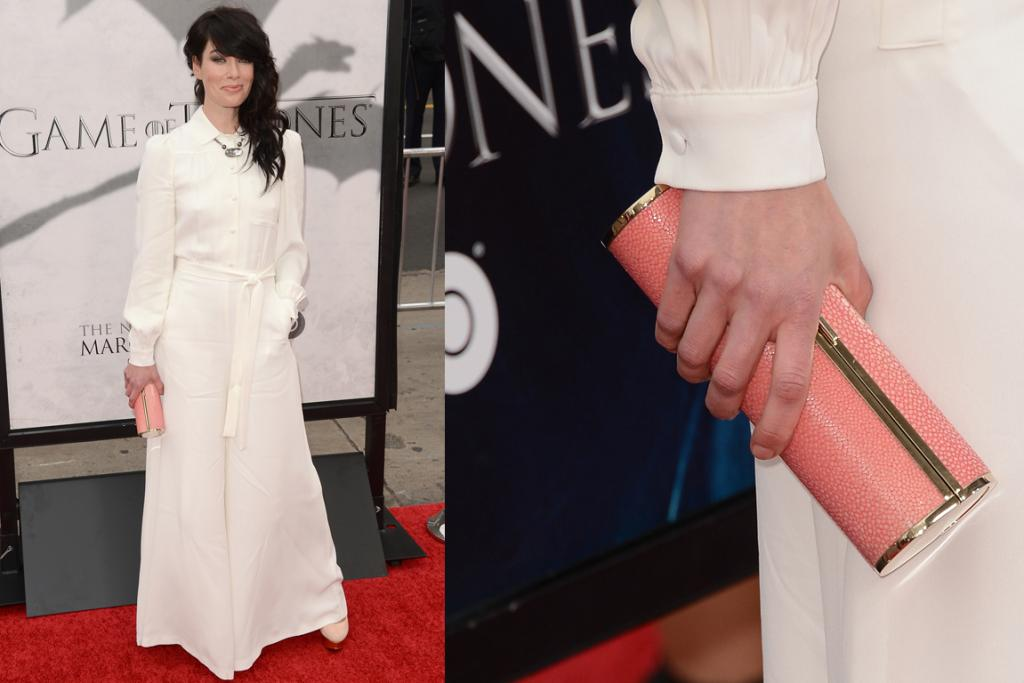 The Second White Maxi - Looking almost nothing like her character Cersei Lannister, Lena Headey opted for a white shirt dress. Now, this could easily have gone very, very wrong, but we actually love it (minus the ironing issues). It's the accessories that have saved her.