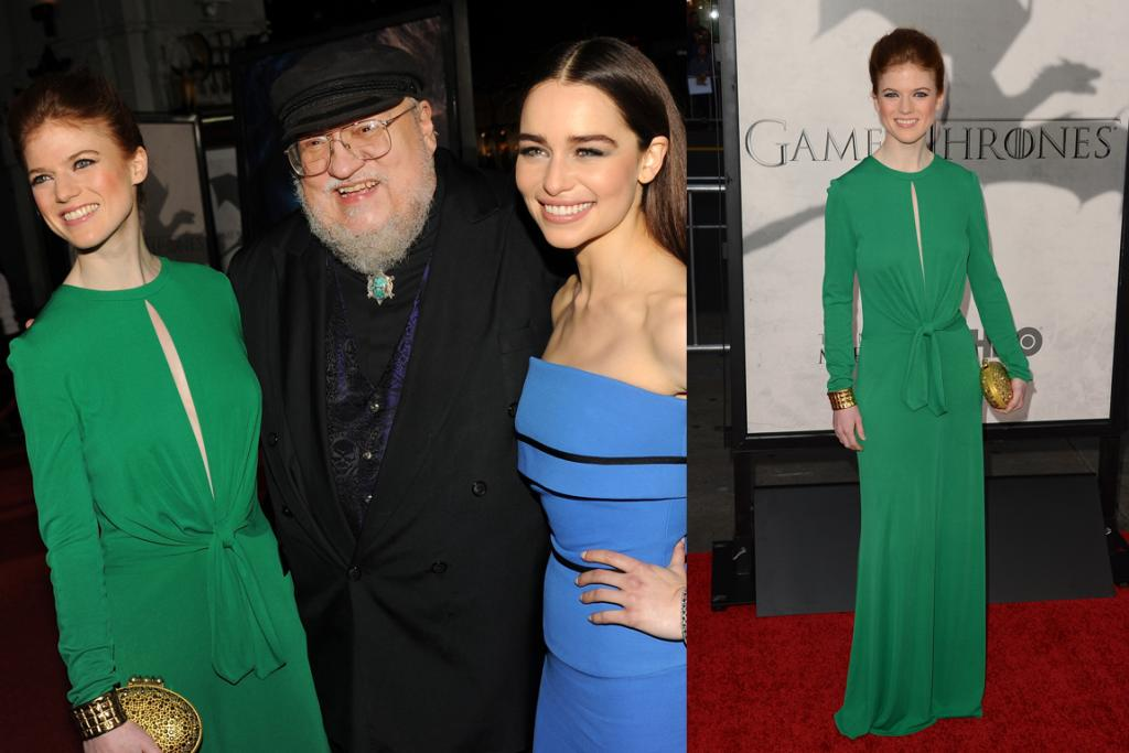 The Next Best - Super on-trend in Pantone's colour of the year, emerald, Rose Leslie couldn't look further from frumpy-in-fur Ygritte. Here, our two fashion winners pose with the creator of Game Of Thrones, George R. R. Martin.