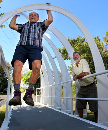 Ron Dodunski, left, and Basil Dodunski on the 6.5m replica of the walkway bridge which will be on display at NZ Caravan Motor Association Rally Easter Weekend.
