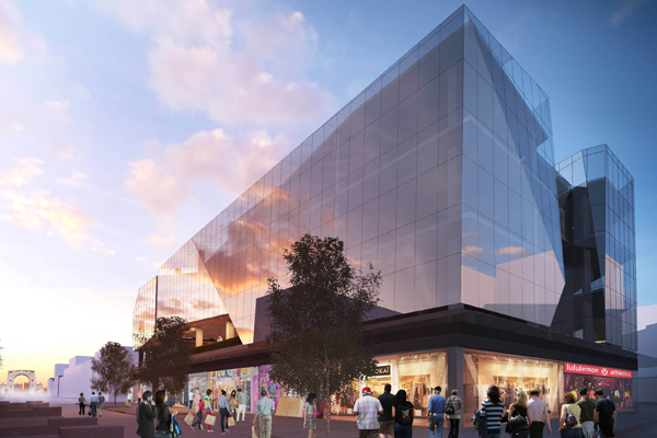 An artists impression of the new OLT $100 million glass- wrapped complex replacing the Triangle Centre in Christchurch's City Mall.
