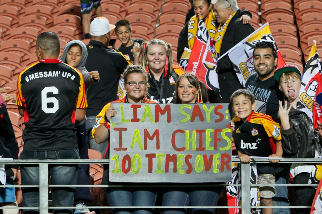 Liam Messam fans show some love for the Chiefs co-captain's 100th game celebrations.
