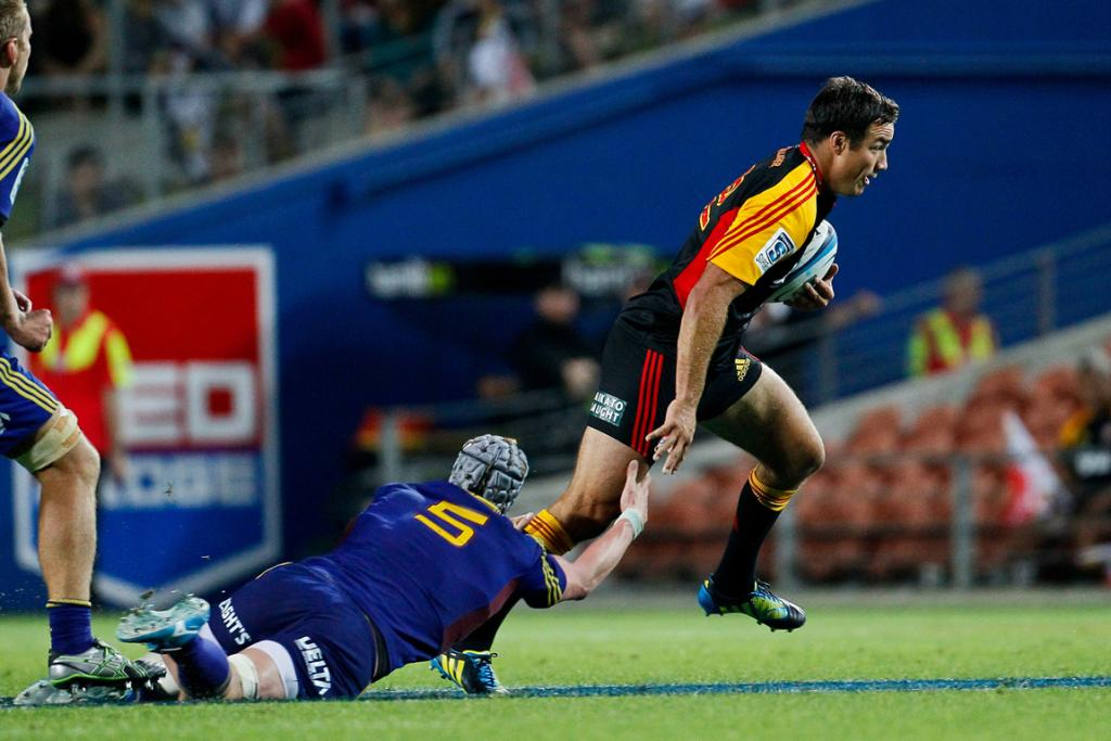 Richard Kahui makes a break in his return for the Chiefs during their win over the Highlanders.