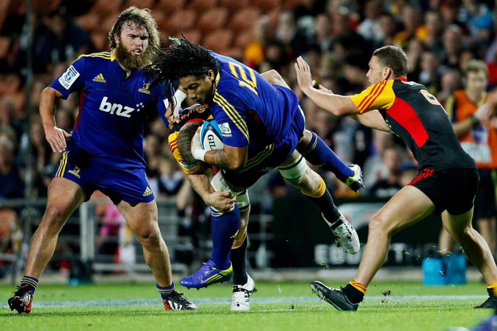 Ma'a Nonu gets caught in a tackle during the Highlanders loss to the Chiefs.