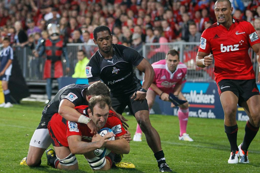 The Crusaders score a try against the Kings.