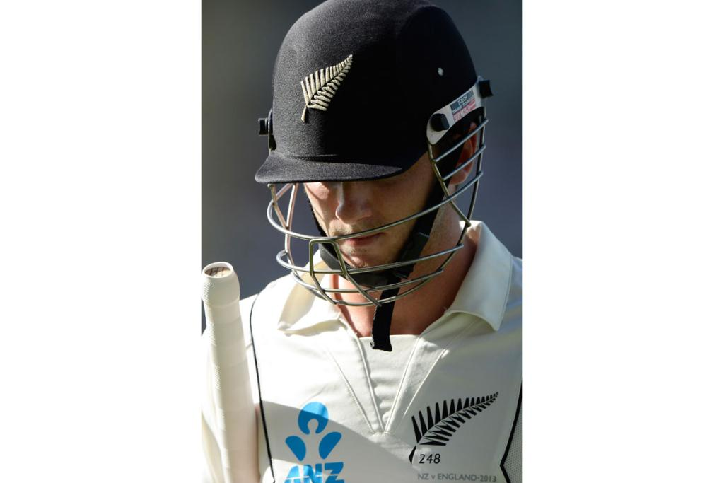 Kane Williamson heads back to the dressing room on the third day.