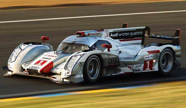 Audi's R18 e-tron on its way to victory at Le Mans.
