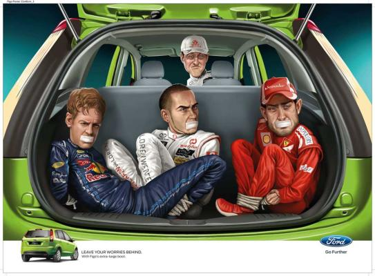 Michael Schumacher kidnaps Sebastian Vettel, Fernando Alonso, and Lewis Hamilton in a controversial Ford Figo advertisement in India.