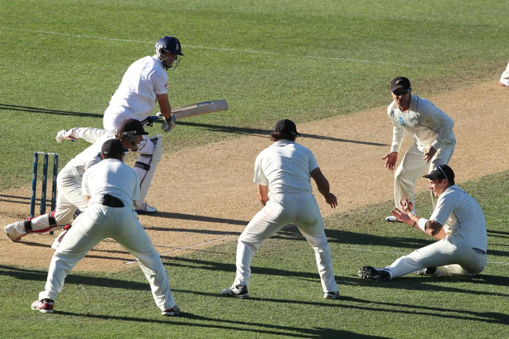Tim Southee is the centre of attention after taking a catch close in to dismiss england batsman Steven Finn.