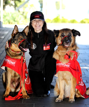 Kotuku Foundation Assistance Animals Aotearoa founder Merenia Donne with response dogs Uni and Rica.