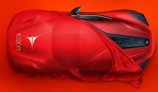 A teaser image of the one-off supercar, the Icona Vulcano.