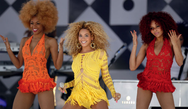 Singular lady: Beyonce and her backing dancers in 2011 with the move that started a new craze.