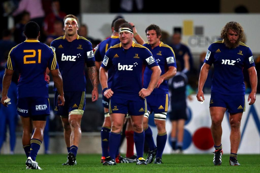 The Highlanders hang their heads on the final whistle during the round seven Super Rugby match between the Highlanders and the Reds at Forsyth Barr Stadium.