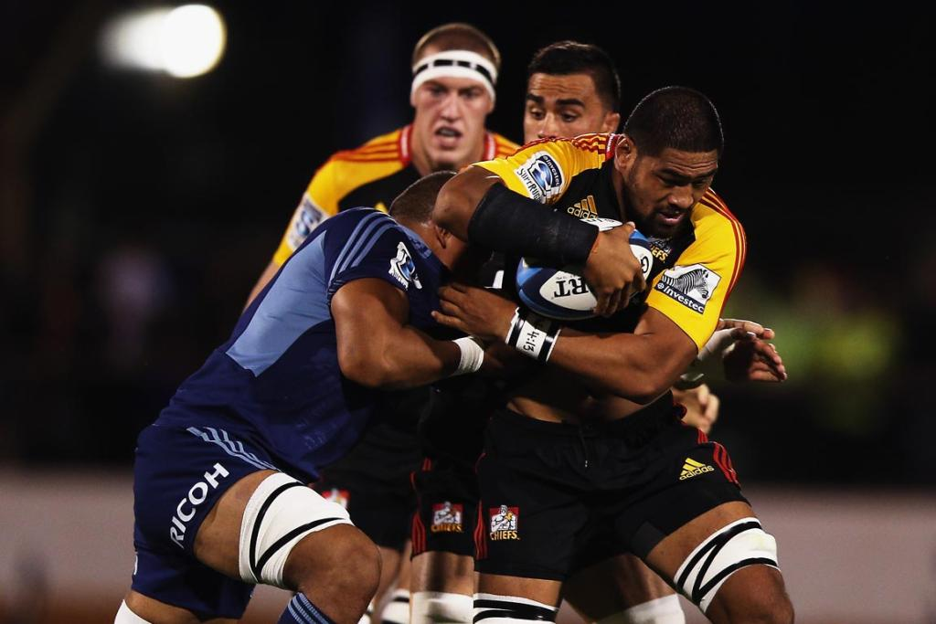 Michael Fitzgerald of the Chiefs charges forward during the round seven Super Rugby match between the Chiefs and the Blues at Bay Park.