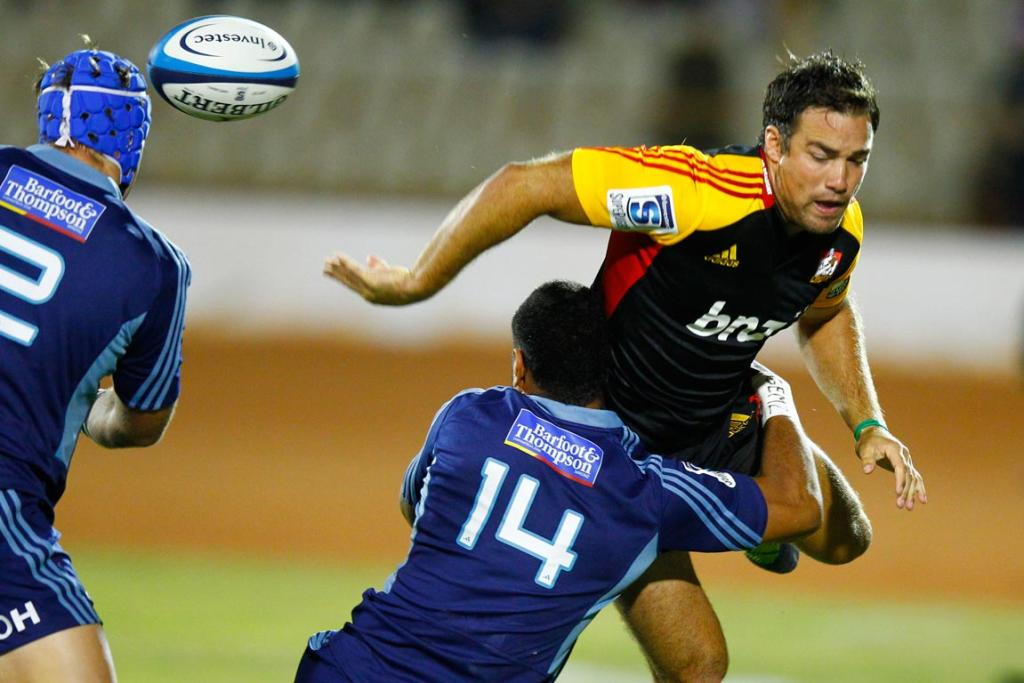 Richard Kahui on the charge during the round seven Super Rugby match between the Chiefs and the Blues at Bay Park.