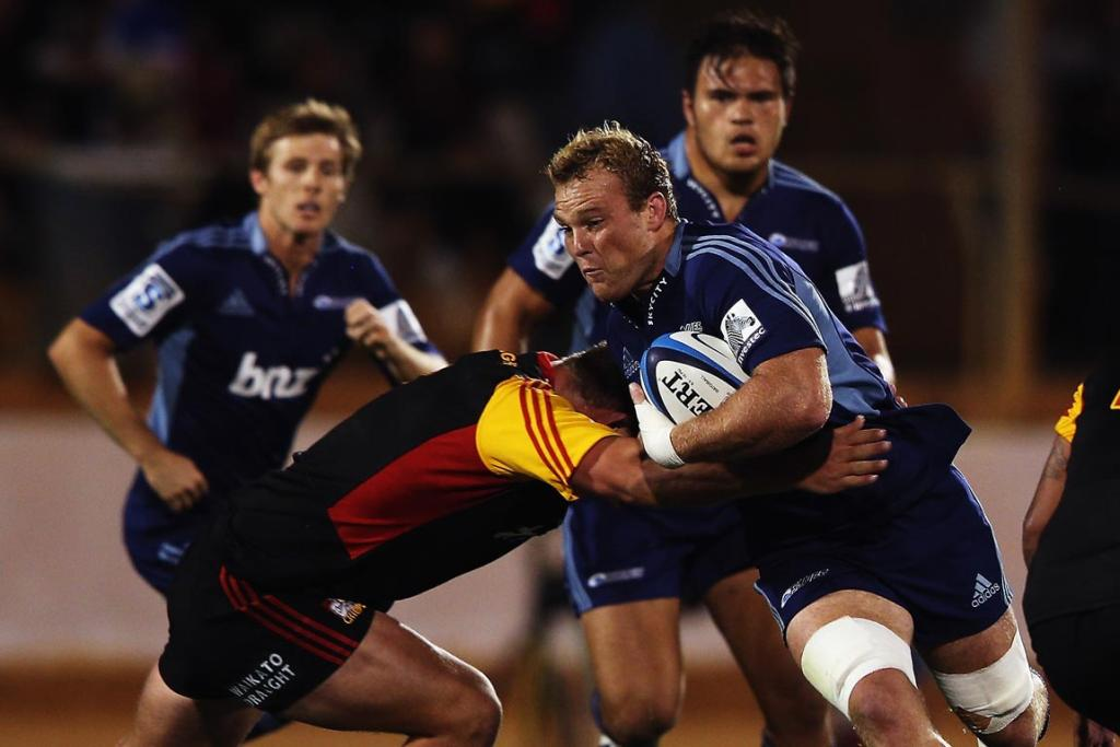 Luke Braid of the Blues charges forward during the round seven Super Rugby match between the Chiefs and the Blues at Bay Park.