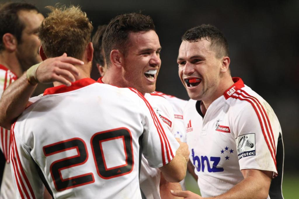 The Crusaders celebrate the win during the Super Rugby match between DHL Stormers and Crusaders in Cape Town.