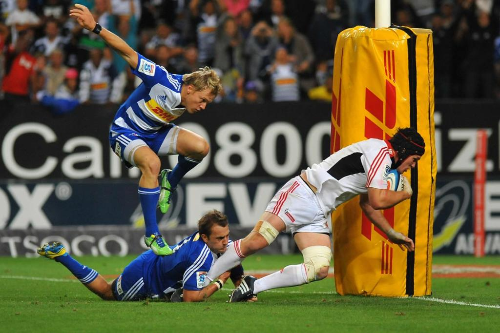 Matt Todd of the Crusaders scores a try during the Super Rugby match between DHL Stormers and Crusaders in Cape Town.