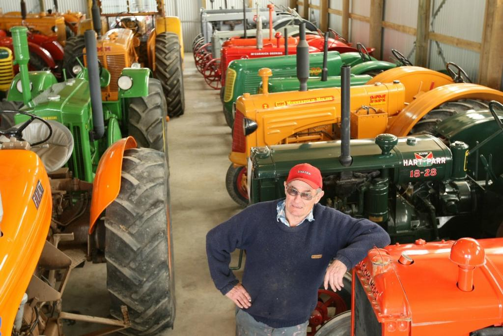 Mervyn Horrell with his impressive tractor collection.