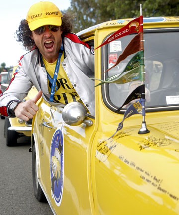 Tristan Bailey in his Goodbye Pork Pie persona as he drove his Mini into Invercargill.