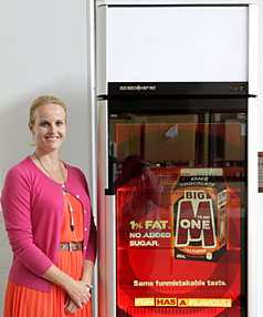 MARKETING SPACE: Skope Industries creative director Alexandra Stewart with a refrigeration cabinet filled with a clear LCD screen for customer merchandising.