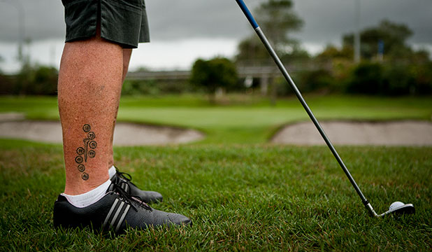 golfer gets tattoos to celebrate holes in one. Black Bedroom Furniture Sets. Home Design Ideas
