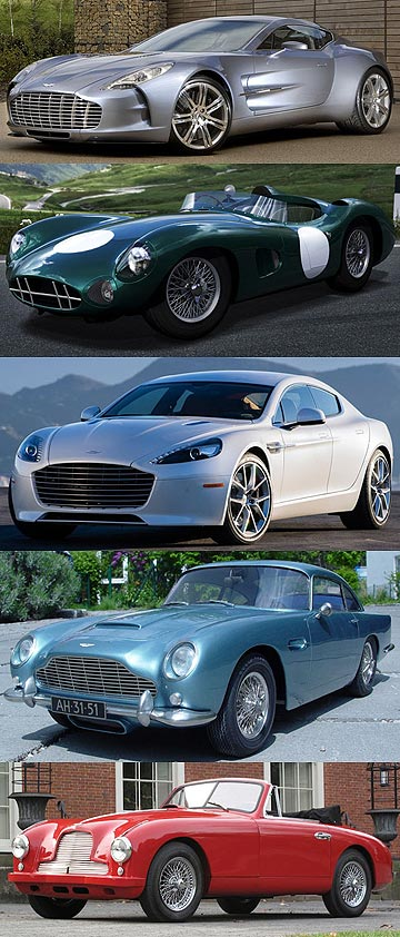 Aston Martins: One-77, the DBR1, Rapide, DB5 and DB2.