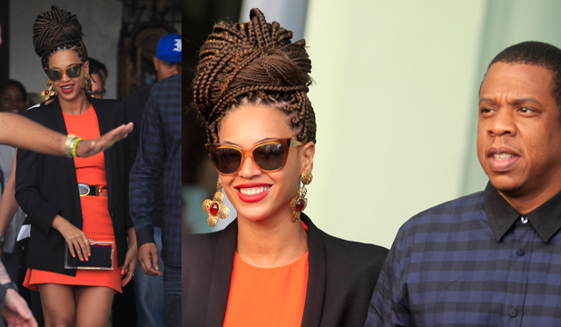 BEYONCE'S BRAIDS: The singer's ditched the sleek blonde tresses in favour of chocolate corn-rows for a trip to Cuba with her husband of five years Jay-Z.
