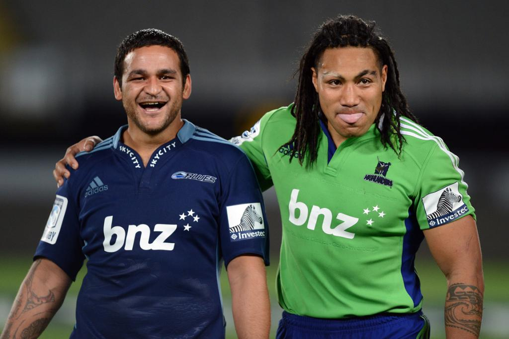 Former teammates Piri Weepu and Ma'a Nonu share a laugh on field.