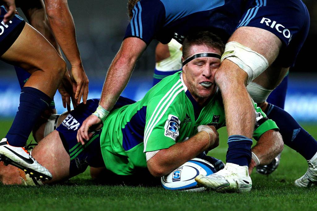 Brad Thorn is tackled during the Highlanders' 29-18 loss to the Blues.