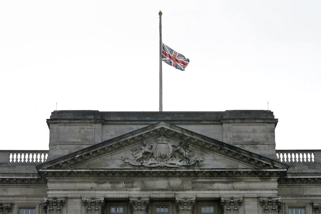 The Union Jack flies at half-mast at Buckingham Palace following the announcement of the death of former prime minister Margaret Thatcher.