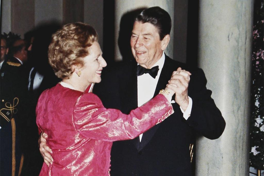 US President Ronald Reagan and British Prime Minister Margaret Thatcher take a spin around the dance floor in the foyer of the White House during a State Dinner in the Prime Minister's honour in this November 16, 1988.