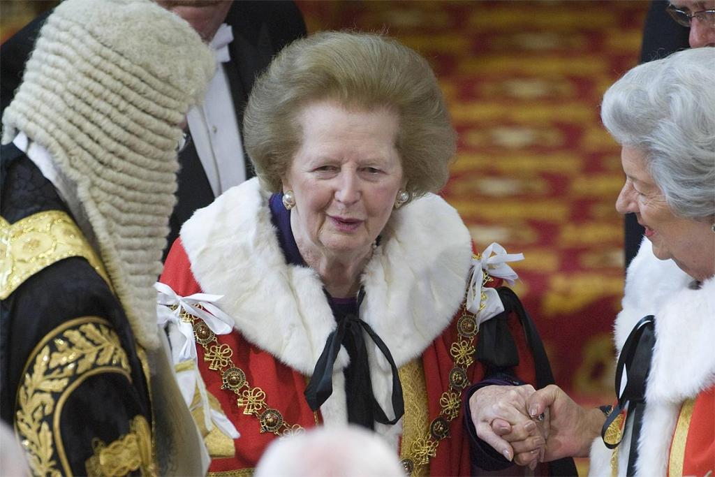 Former British prime minister Margaret Thatcher attends the State Opening of Parliament at the House of Lords in Westminster, London on May 25, 2010.
