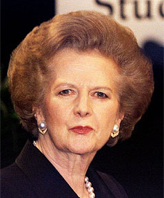 Former British PM Margaret Thatcher