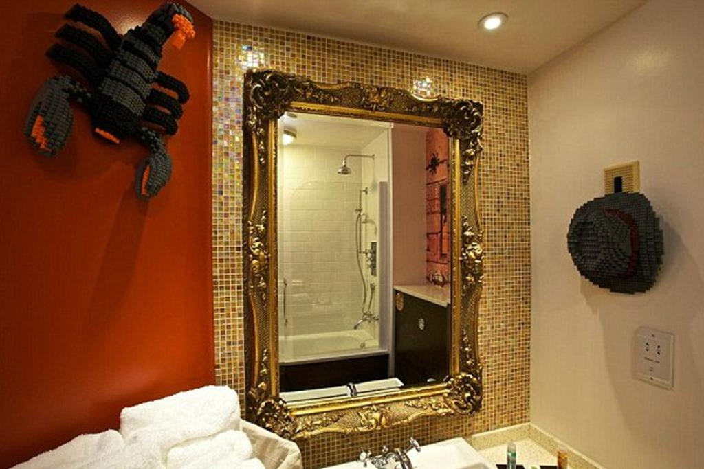 The intricate bathrooms within the hotel.
