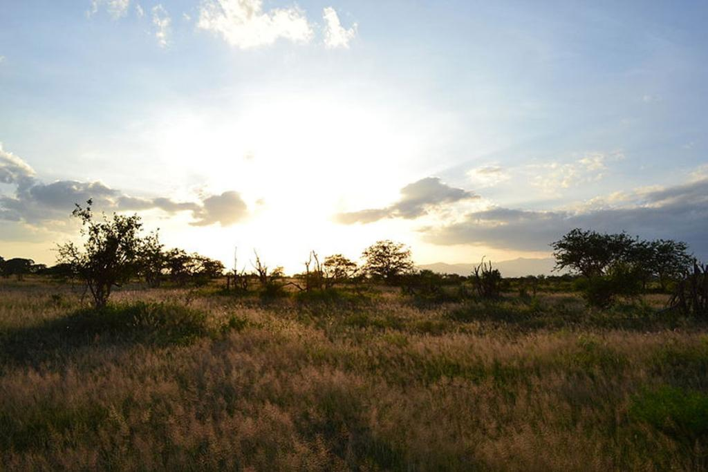 Sunset viewed from the Voyager Ziwani Safari Camp, outside but on the edge of the Tsavo West National Park, near Ziwani, Kenya.