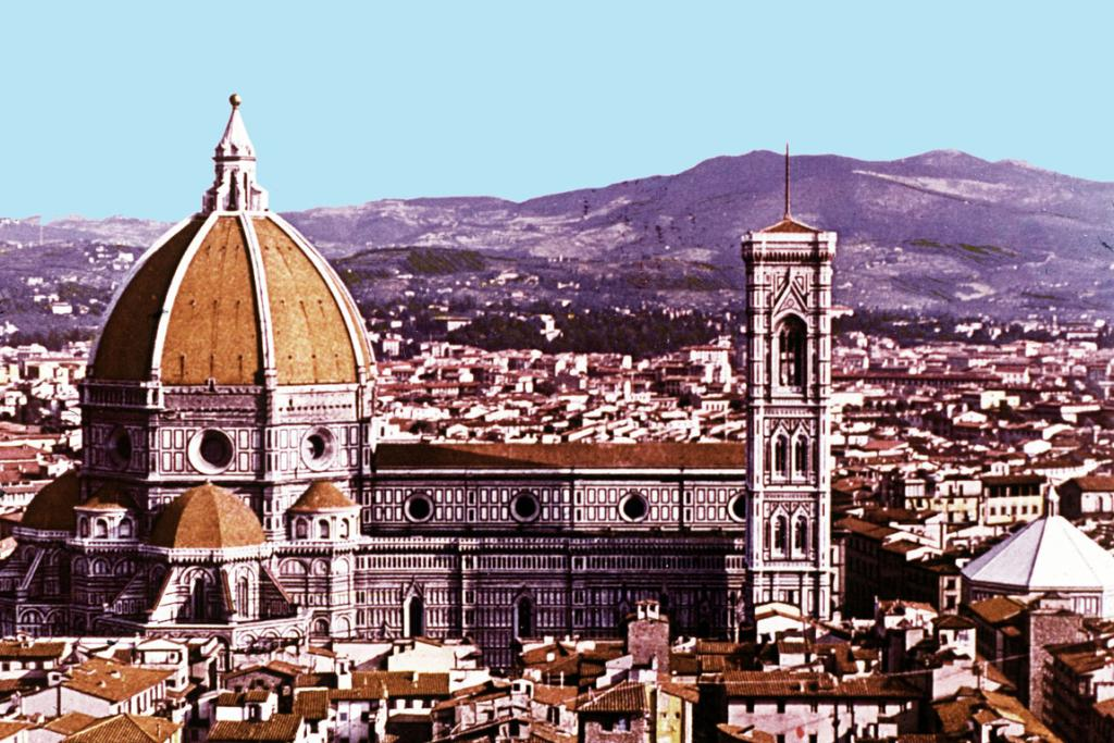 The cathedral of St Maria del Fiore, dating from the 13th century, topped by Brunelleschi's famous dome, dominates the city of Florence.