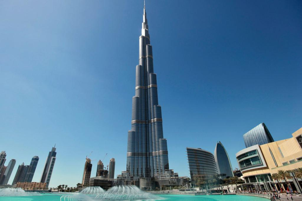 The Burj Khalifa, the world's tallest tower at a height of 828 metres (2,717 feet), stands in Dubai.