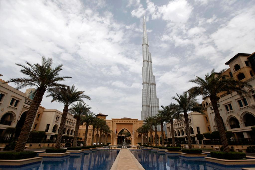 The Burj Khalifa is seen from Al Qasr hotel in the Old Town in downtown Dubai.