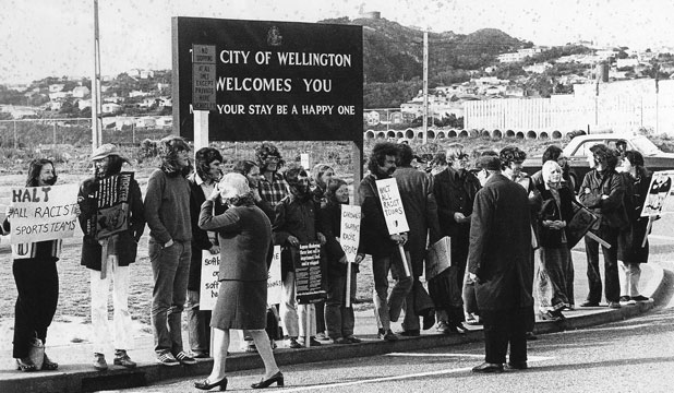 Anti-apartheid group Hart at Wellington Airport in 1971