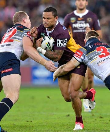 MATCH-WINNER: Josh Hoffman's 72nd minute try proved the difference for the Broncos in a tense Queensland derby against the Cowboys.
