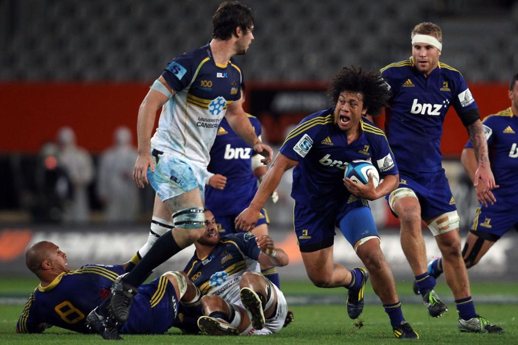 TJ Ioane makes a charge against the Brumbies.