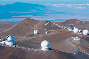 The 4,200 meter high summit of Mauna Kea in Hawaii houses the world's largest observatory.
