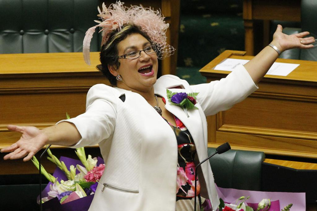 Green MP Metiria Turei wearing a feathered hat during the last reading of the Marriage Equality Bill at Parliament.