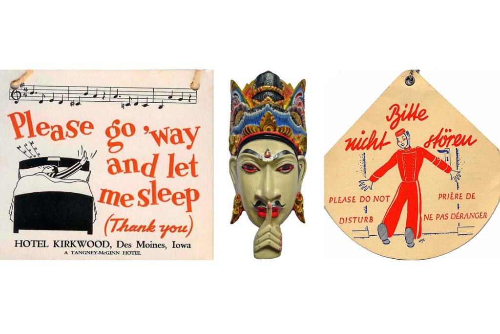 The Flores collection includes (left to right): A vintage sign from Hotel Kirkwood in Des Moines; a wooden mask sign from Kamandalu Resort & Spa in Bali, Indonesia; and a vinrage sign from an unknown German hotel.